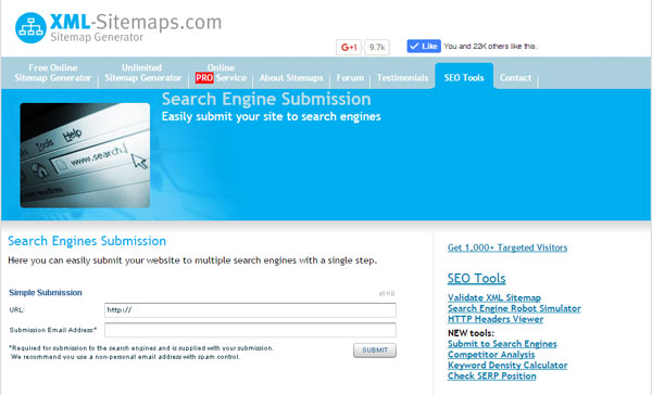 FREE Search Engine Submission Tool